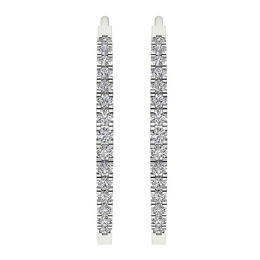 Dangling Hoops Earring I1 G Round Diamond 0 40ct 14k White