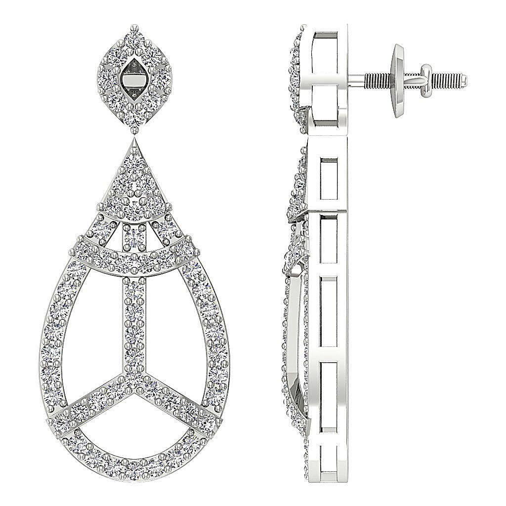 Dangle Chandelier Earrings Round Diamond I1 G 1 10 Ct 14k