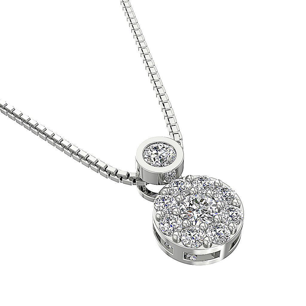 Cluster Pendant Necklace Real Diamond I1 G 0 60 Ct 14k