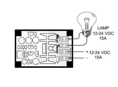 MXA050:DC Flasher 15A 12 Vdc to 24 Vdc Assembled Circuit