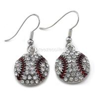Clear Crystal Baseball Dangle Earrings Silver Tone Sport ...