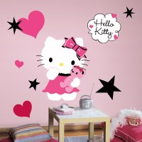 New Large HELLO KITTY COUTURE WALL DECALS Girls Bedroom ...