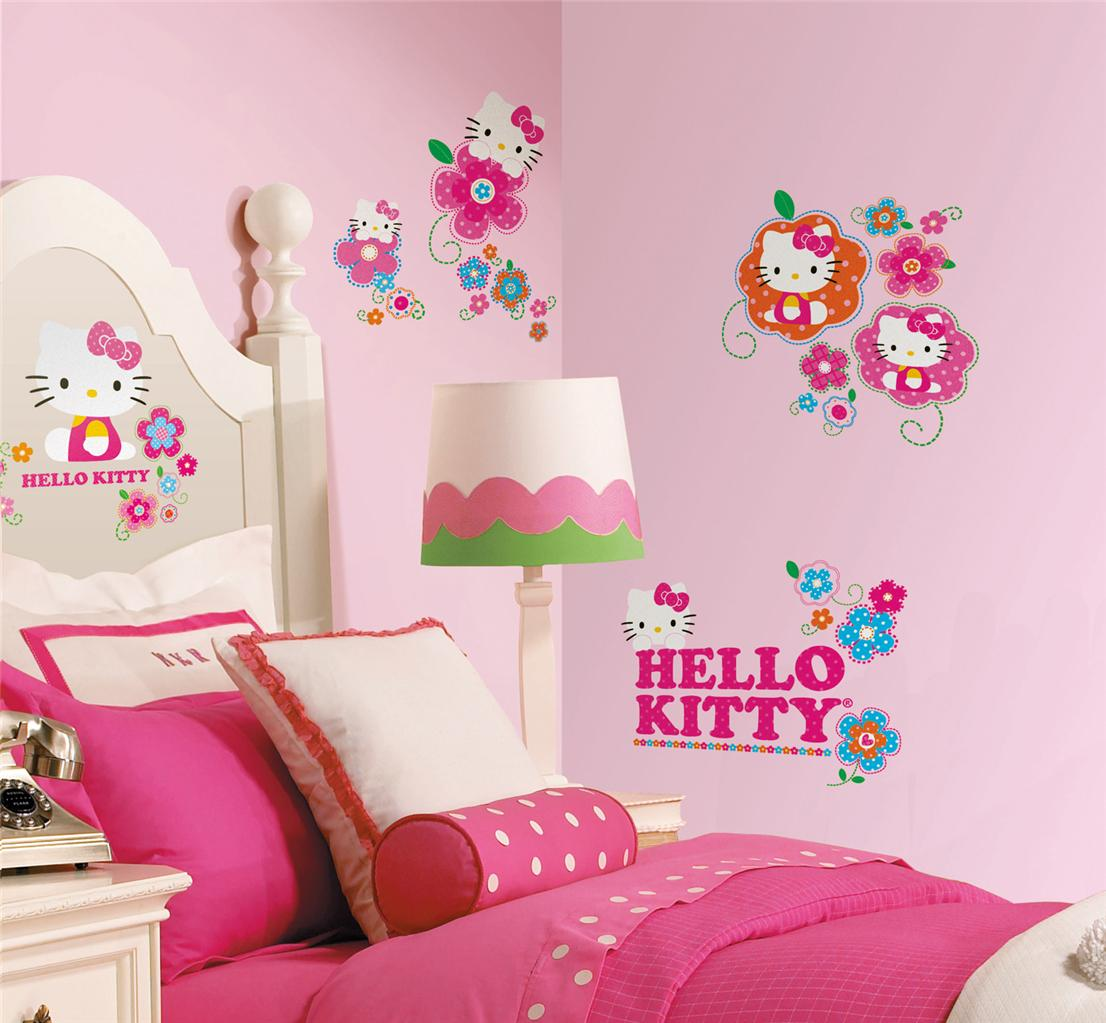 39 New Hello Kitty Floral Boutique Wall Decals Girls