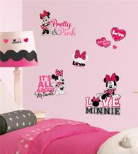 New Disney Minnie Mouse Loves Pink Wall Decals Black White ...