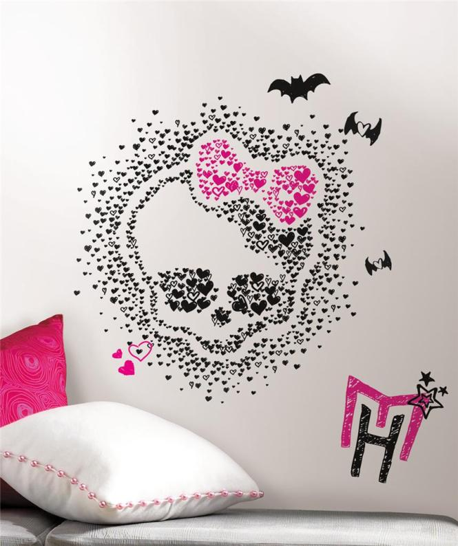 New Giant Monster High Heart Skullette Wall Decals Black Pink