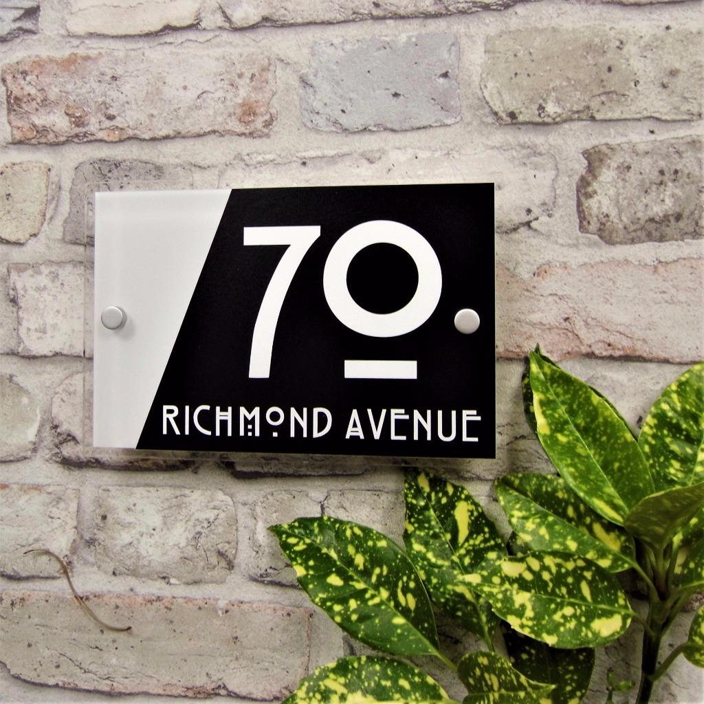 Details About Modern House Door Number Plaque Address Sign Glass Effect Acrylic Name Plate
