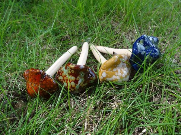 Set Of 4 Cute Ceramic Pottery Mushroom Yard Garden Decor