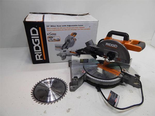 Ridgid R4110 10quot Miter Saw w Adjustable Laser 14559 eBay