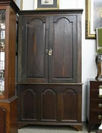 Antique Georgian English Oak Wardrobe Linen Press Cabinet ...