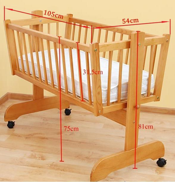 Baby Rocking Crib Mattress 90 X 40 Swing Cradle In Light Dark Pine