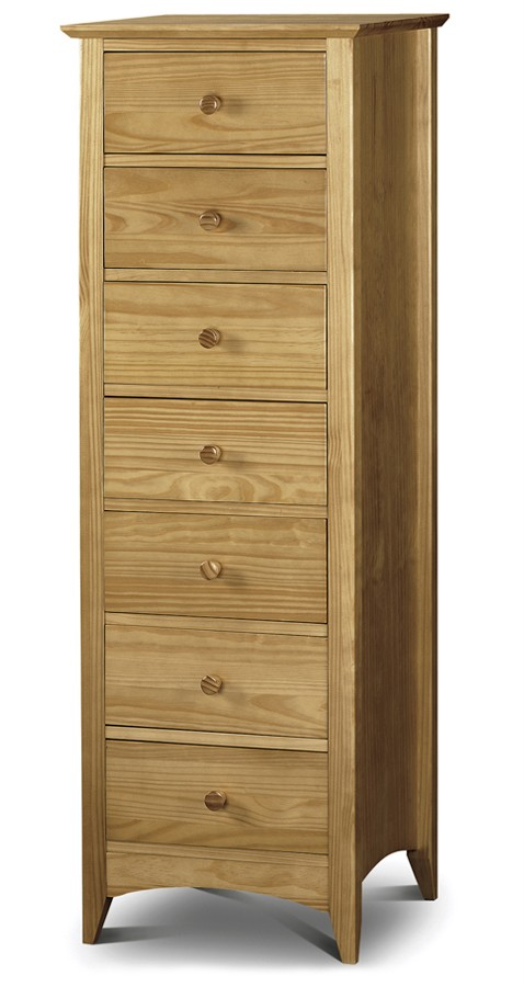 Traditional Solid Pine Tall Narrow Chest of 7 Drawers