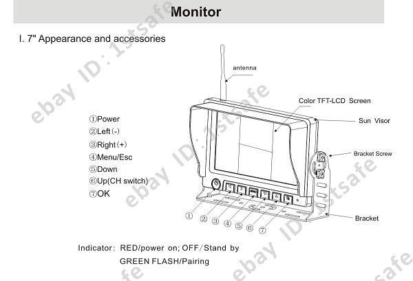 Digital Wireless Rear View Backup Camera CCTV System, 7