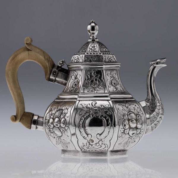 Antique 19thc Victorian Solid Silver Unusual Teapot Hunt