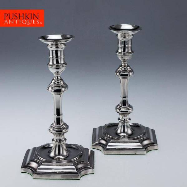 Antique 20thc Queen Anne Style Solid Silver Candlesticks