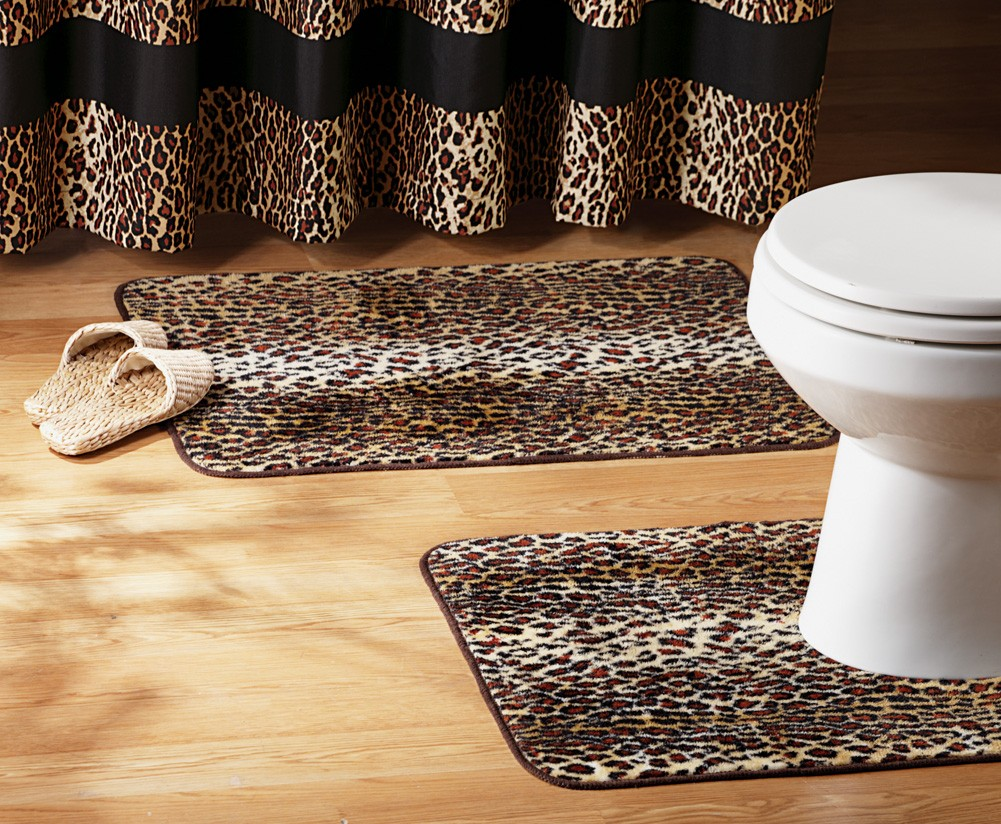 Leopard Print Bathroom Set Shower Curtain Rugs Towels