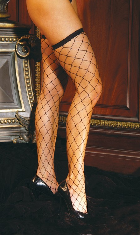 Big Diamond Net Thigh High Hi Hosiery Stockings Fence