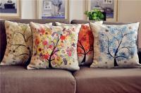 """18"""" Four Seasons Wishing Tree Cotton Linen Throw Pillow ..."""