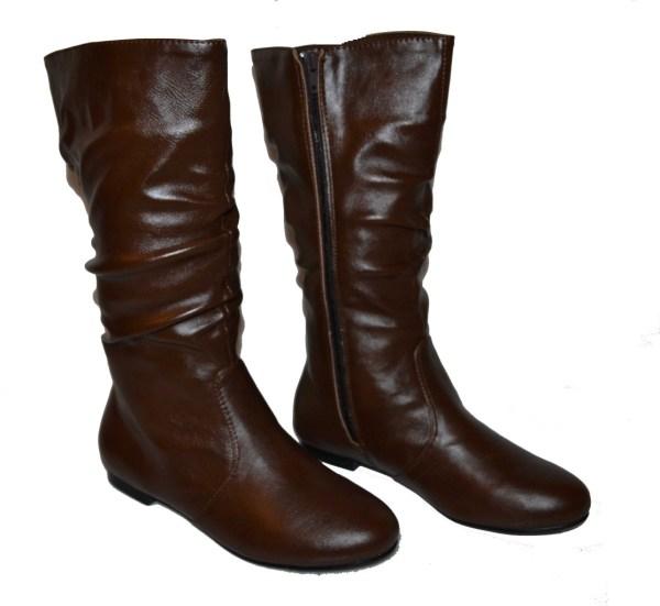 Womens Boots Flats Dark Brown Light Black Slouch Western