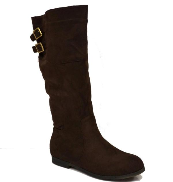 Womens Faux Suede Microfiber Boots Knee High Flats