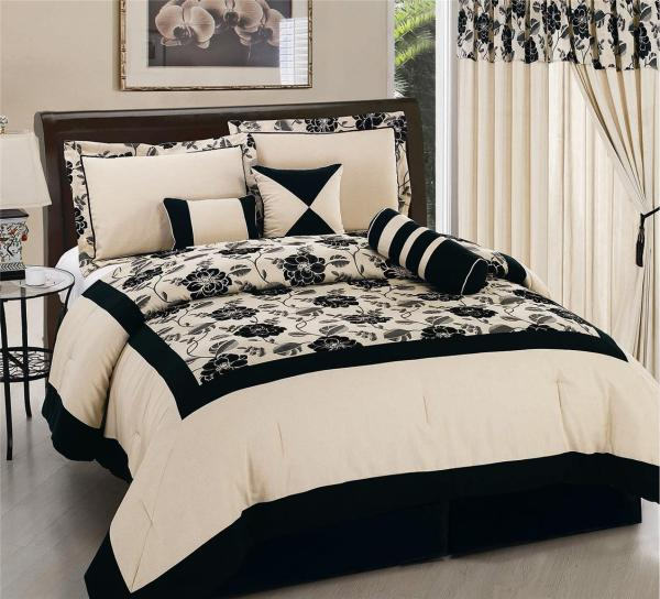 7pc Black Flannel Peony Seashell Color Comforter
