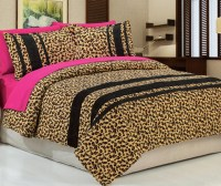 7PC Golden Leopard Bedspread 100% Cotton QUEEN with ...