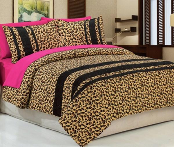 7pc Golden Leopard Bedspread 100 Cotton Queen With Matching Hotpink Sheet Set