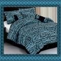 Blue zebra print bed in a bag set bed bag complete bedding