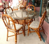 VINTAGE ANTIQUE 6pc RATTAN BAMBOO DINNING TABLE OUTDOOR ...
