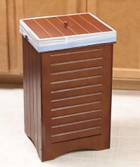 CLASSY WOODEN FURNITURE-STYLE KITCHEN GARBAGE CAN TRASH ...