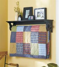 DELUXE QUILT BLANKET HOLDER WALL RACK WITH SHELF SCROLLED
