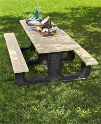 3 PIECE STONE LOOK MOSAIC PRINT PICNIC TABLE COVER SET TAN ...