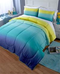 CONTEMPORARY OMBRE PRINTED TURQUOISE OR PURPLE COMFORTER ...
