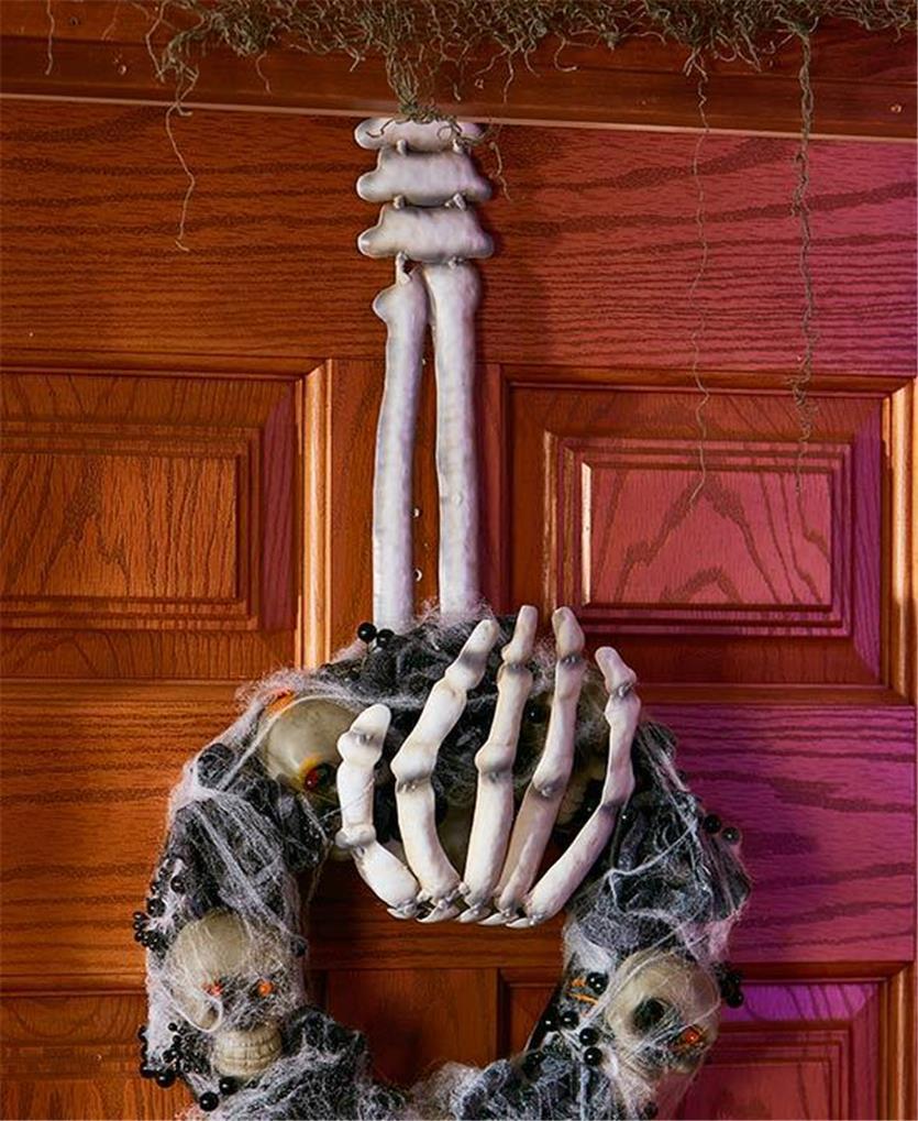 SKELETON HAND WREATH HANGER HALLOWEEN DOOR WALL SPOOKY