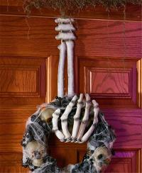 SKELETON HAND WREATH HANGER HALLOWEEN DOOR WALL SPOOKY