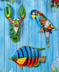 TROPICAL METAL WALL ART SCULPTURE INDOOR OUTDOOR HOME ...