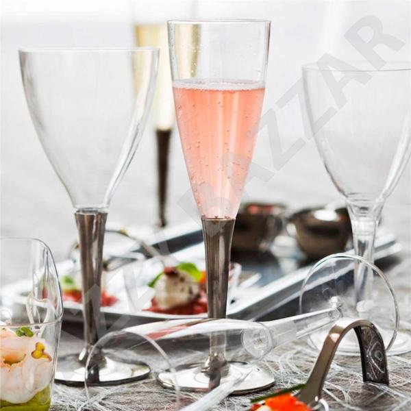 Mozaik 40 Clear Disposable Plastic Wine Champagne Flutes