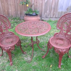 Antique Cast Iron Garden Table And Chairs White Butterfly Chair Vintage Patio Outdoor Bistro Set Two