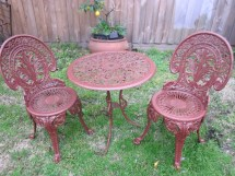Vintage Cast Iron Patio Outdoor Bistro Set Table & Two