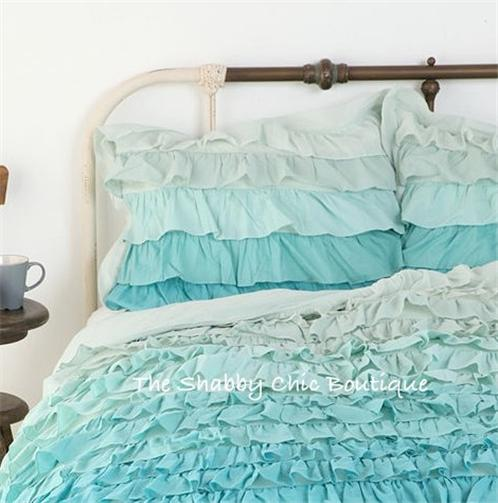 Shabby Beach Cottage Chic Green & Teal Dreamy Ruffled