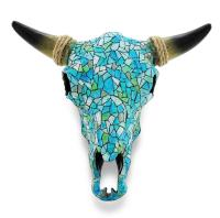 Western Mosaic Steer Cow Bull Skull & Horns Turquoise Wall ...