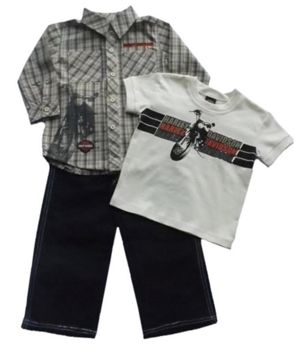 Harley Davidson Toddler Boys 3 Pc Jean Shirt Tee Apparel