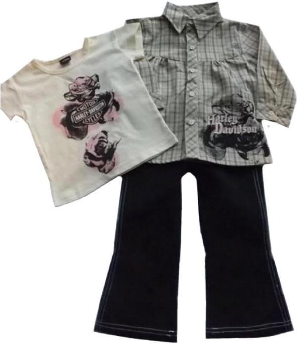Harley Davidson Toddler Girls 3 Pc Jean Shirt Tee Apparel