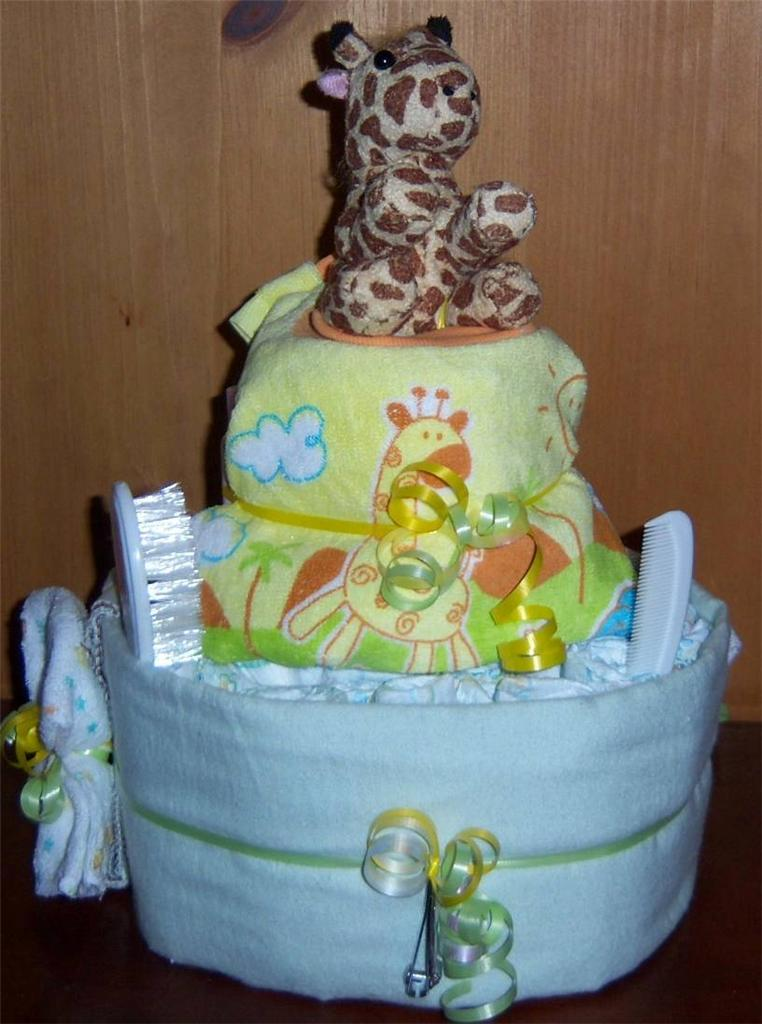 Baby Shower 2 Tier Safari Diaper Cake Pink Blue or Neutral
