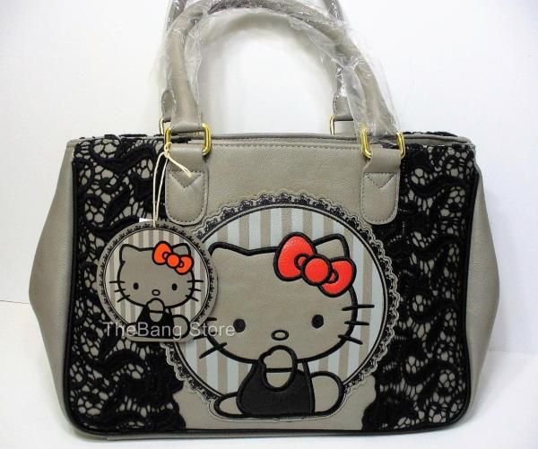 Loungefly Kitty Red Bow Black Lace Satchel Grey Bag