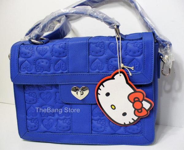 Loungefly Kitty Blue Embossed Satchel Heart Lock Bag