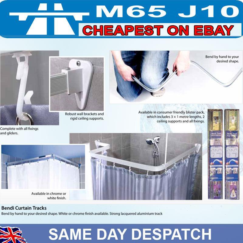 Croydex Type Bendi Flexy Flexible Shower Curtain Track Rail White
