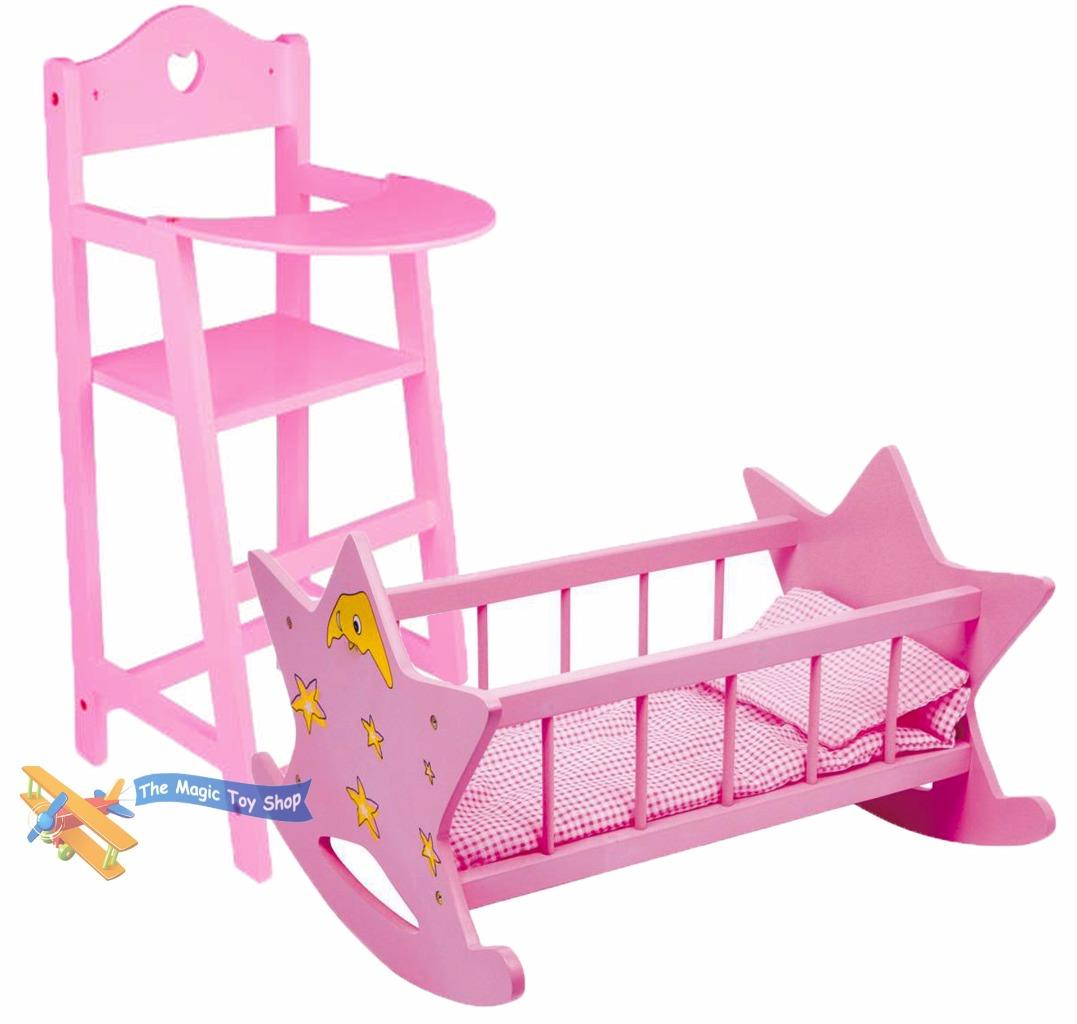 rocking chair and cradle in one cool office new dolls wooden set high crib cot bed pram