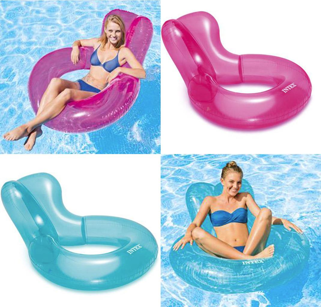 intex inflatable chairs toddler high chair booster transparent float swimming lounger
