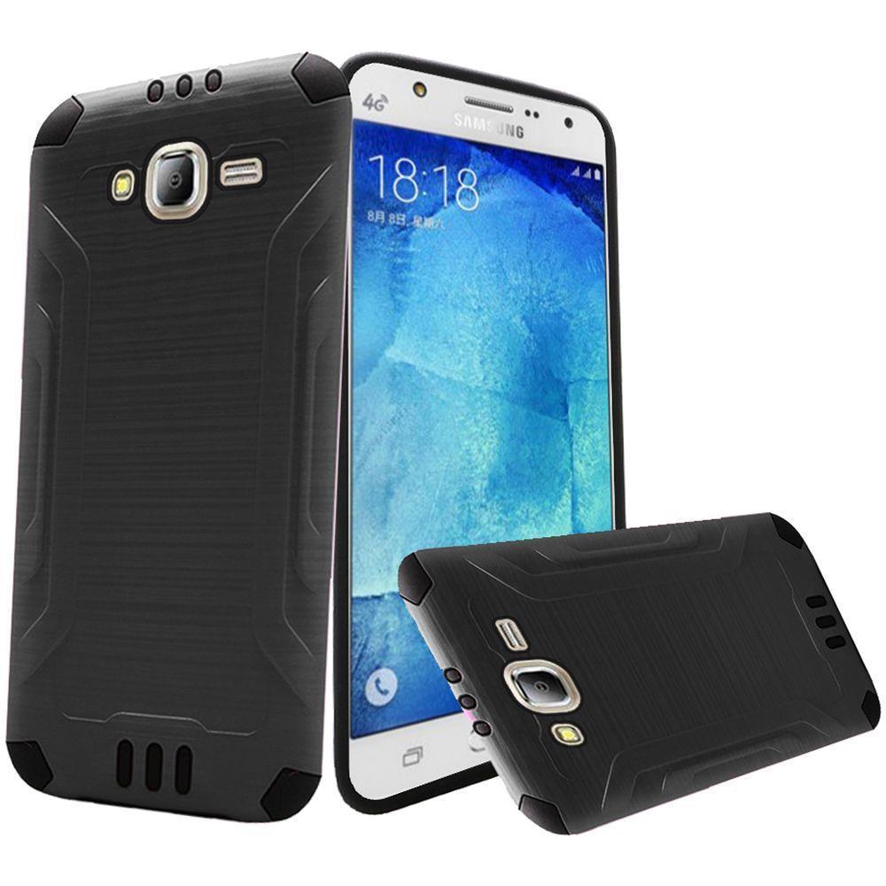 For Samsung Galaxy J7 2015 Combat Hybrid Design Metal Brushed Cover Case | eBay