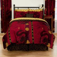 New Asian Oriental Dragon Red Gold Comforter Sheets Set ...